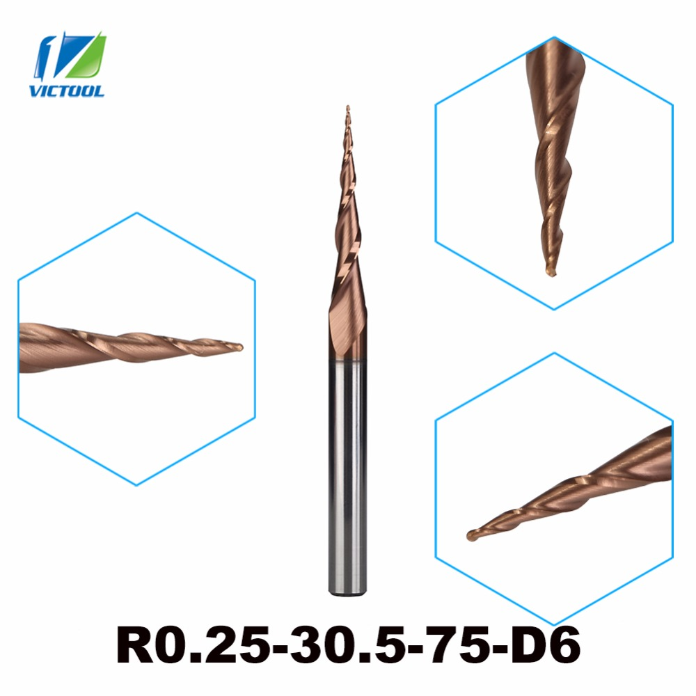 2pcs/lot H-SI Coated R0.25*D6*30.5*75L*2F Solid Carbide 6mm Ball Nose Tapered End Mills Router Bits cnc Taper Wood Metal Milling 2pcs lot h si coated r0 25 d6 30 5 75l 2f solid carbide 6mm ball nose tapered end mills router bits cnc taper wood metal milling