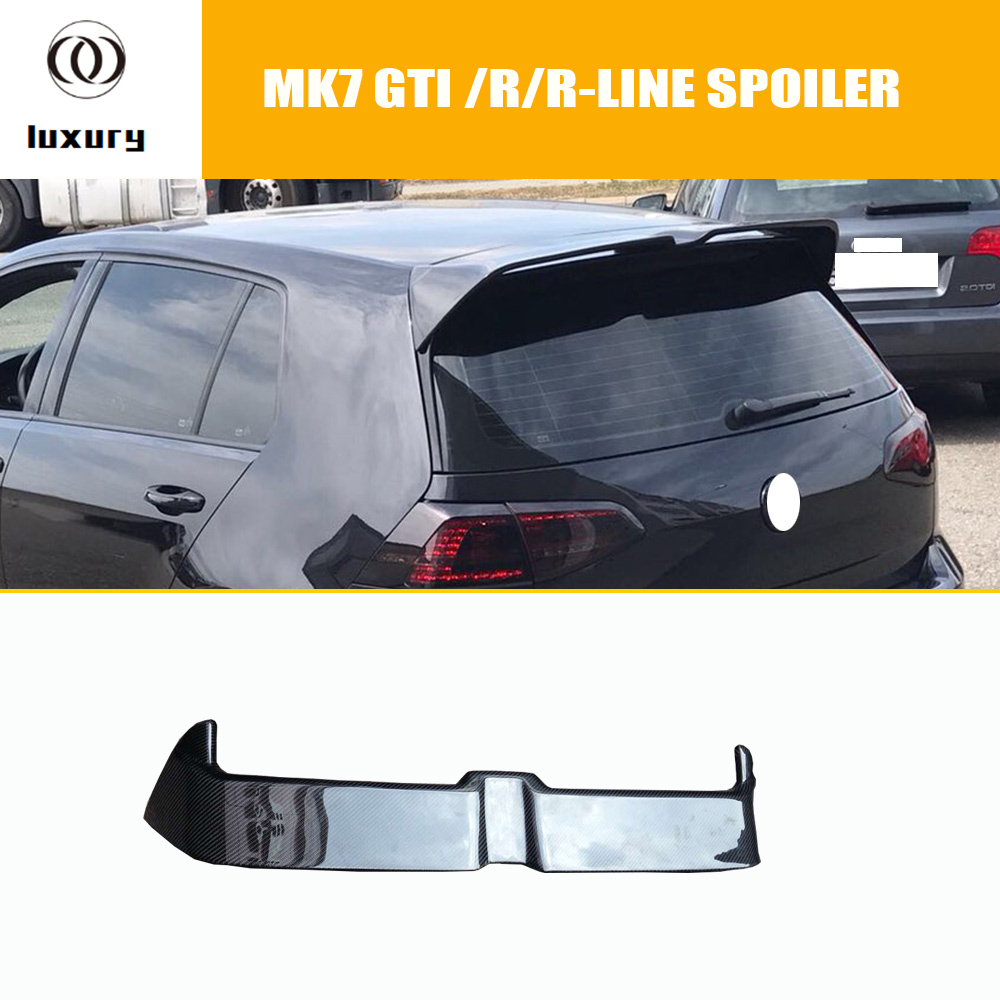 MK7 Carbon Fiber Rear Roof Trunk Wing Spoiler for Volkswagen <font><b>Golf</b></font> 7 VII MK 7 GT-I & <font><b>R</b></font> & <font><b>R</b></font>-LINE 2014 2015 2016 2017 <font><b>2018</b></font> image