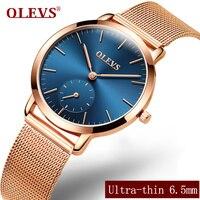 Olevs Luxury Business Watches Women Mesh Steel Wristband Female Clocks Elegant Ladies Watches Students Relogio Masculino
