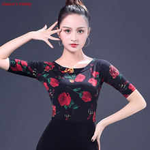 Fashion Print Latin Dance Tops New Adult Female Half Sleeved Practice Clothes Women Ballroom Dance Stage Performance Costumes