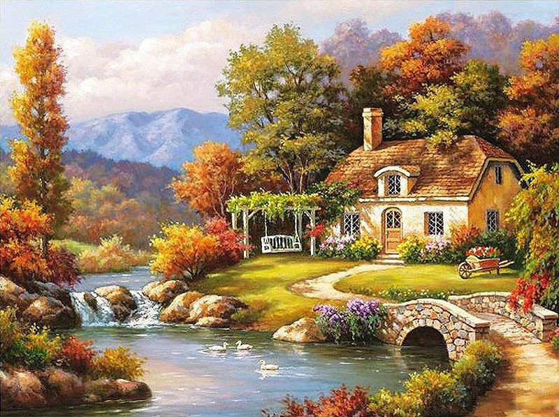 Beautiful House Vintage Home Decor Wall Art Pictures Diy Oil Painting On Canvas By Numbers