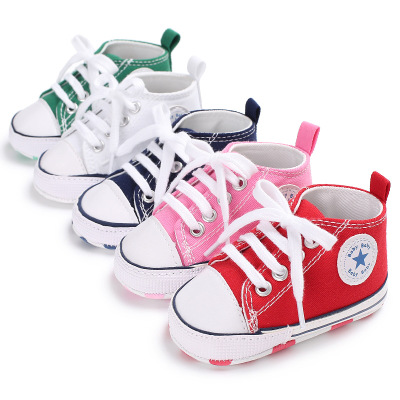 Classic Star First Walker Baby Canvas Shoes Sports Lace-Up Low Top Boys Girls Sneakers for Kids Baby Casual Flat Shoes Branded