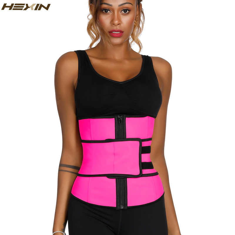 0bbc7ef8d9 HEXIN Pink Latex Waist Trainer with Slimming Belt Girdles Firm Control Plus  Size Body Shaper Zip