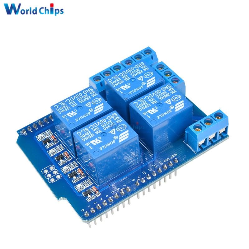 4 канала 5 В реле Swtich Плата расширения светодиодный индикатор Релейный Щит V2.0 макетная плата модуль для Arduino UNO R3 One