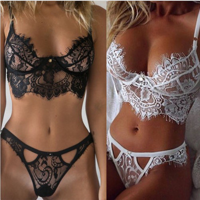 The Ne	High Quality Erotic Lingerie Women's Sexy Big Yards See-through Lace Underwear Temptation Three Point Suits Sexy Lingerie