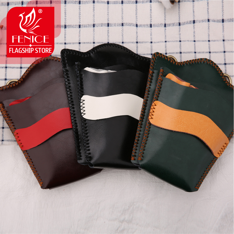 Fenice Retro Leather Contrast Color Case Hairdressing Barber Salon Holster Pouch Styling Tools Bag for 9pcs Hair Scissors