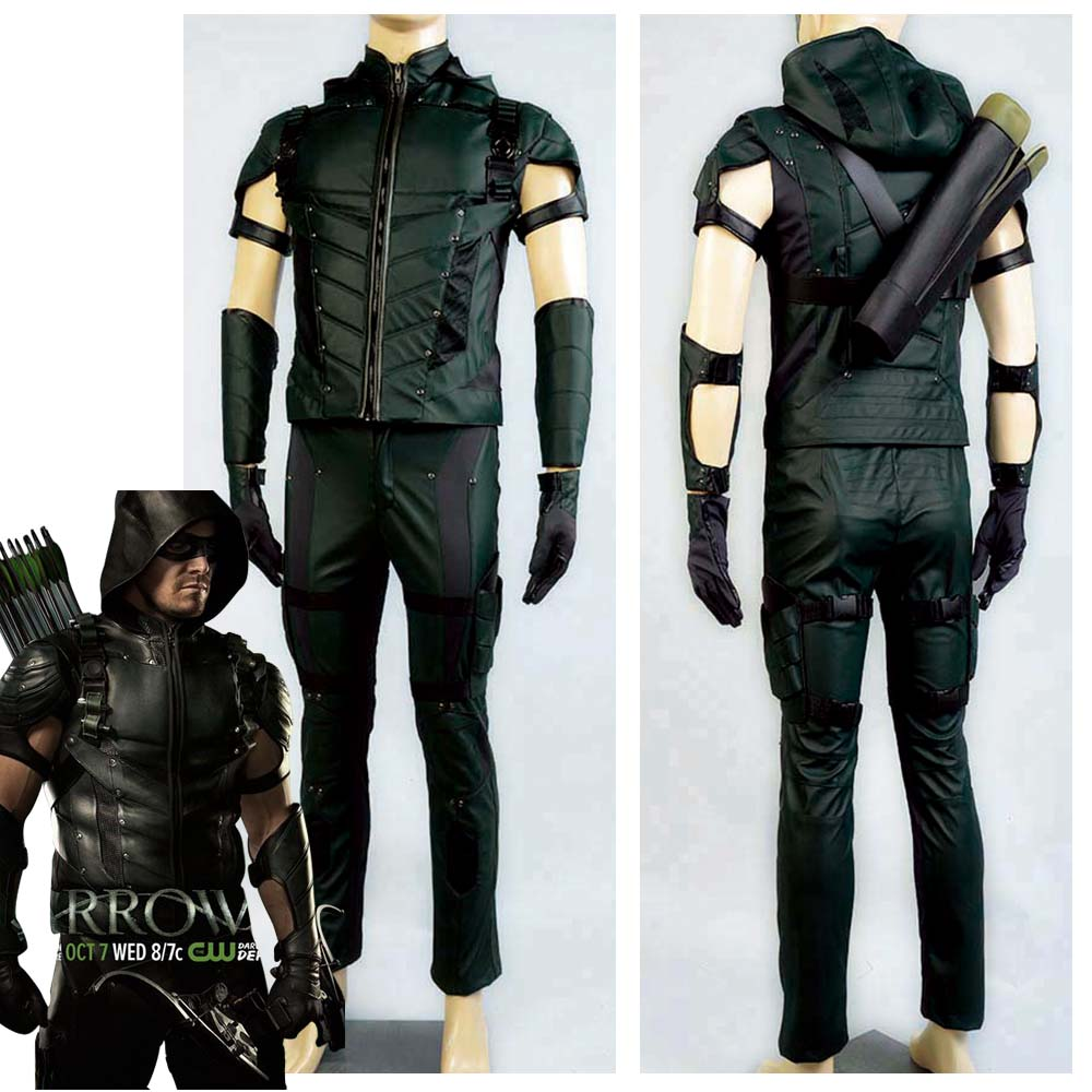 2017 The Green Arrow temporada 4 Cosplay Superhero Oliver Queen Cosplay Disfraz de cuero de Halloween para hombres adultos