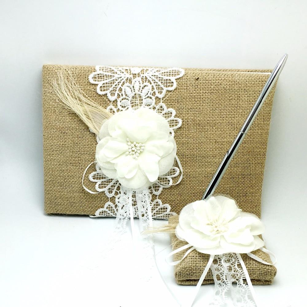 4 pièces/ensemble Vintage hesse toile de jute mariage livre d'invité et ensemble de stylo et anneau oreiller et panier avec fleur plume fournitures de décoration de mariée - 3
