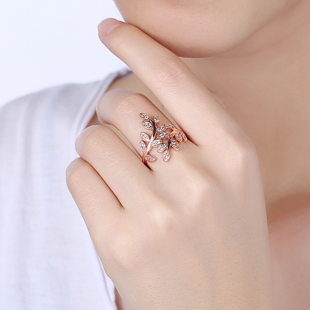 Rose Gold Filled Silver Leave Rings For Women Elegant Micro Cubic ...