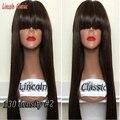 8А бразильский полной челкой парик с челкой/шнурка человеческих передние парики шелковистая прямая виргинских бразильских волос парики женщин ребенок волос