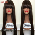 Brazilian full bangs 8A full lace wig with bangs/human lace front wigs silky straight virgin brazilian hair wigs women baby hair