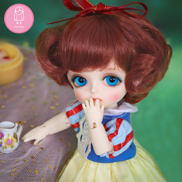 Wig For Doll BJD L8#  free shipping size 4.5-6inch 1/8 high-temperature Natural wig short hair bjd sd doll Wigs in beauty