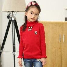 Платье Осень зима Девушки хлопка свитер синий красный розовый лук оборками трикотажные толстый теплый свитер девушки одежды 3 4 5 6 7 8 9 10Y