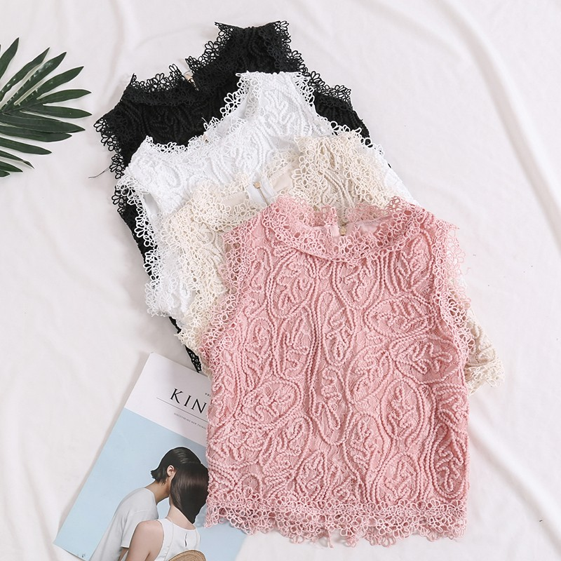 2018 new women tops sleeveless blouses lace patchwork sweet