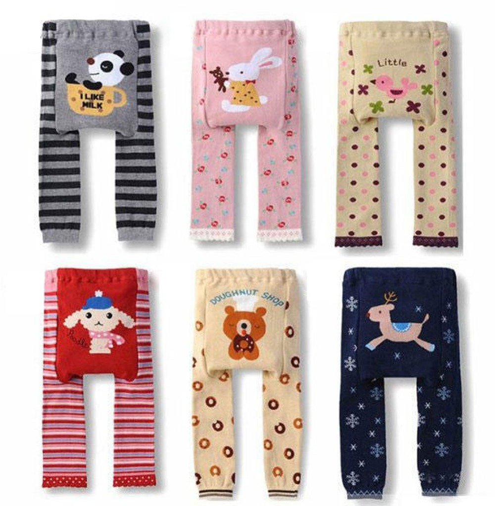 Baby Leggings cotton knitted Kids pants yarn dyed Cartoon characters ...