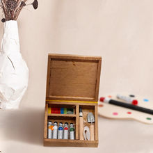 DIY 1:12 Dollhouse Furniture Painter Watercolor Box 1Set Children Mini Doll Houses Miniatures Pretended Play Toys Kids Gift(China)