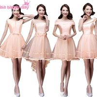 corset style short peach brides maid dresses 2018 bridesmaid girls winter formal party ball gown dress wedding new arrival B2903