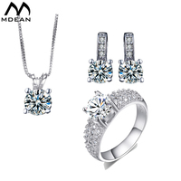 MDEAN White Gold Filled Wedding Jewelry Sets AAA Zircon Fashion Engagement Ring Earring Pendant For Female