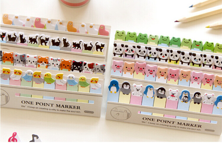 Kawaii Cartoon Animal Memo Paper One Point Marker Sticky Notes Memo Pad Zakka Stationery Office Supplies School Supplies