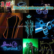 3M/ Lot Flexible Neon Light EL Electro Luminescent Wires With Battery Case Car Decoration for Tesla Hyundai Chevrolet Lada