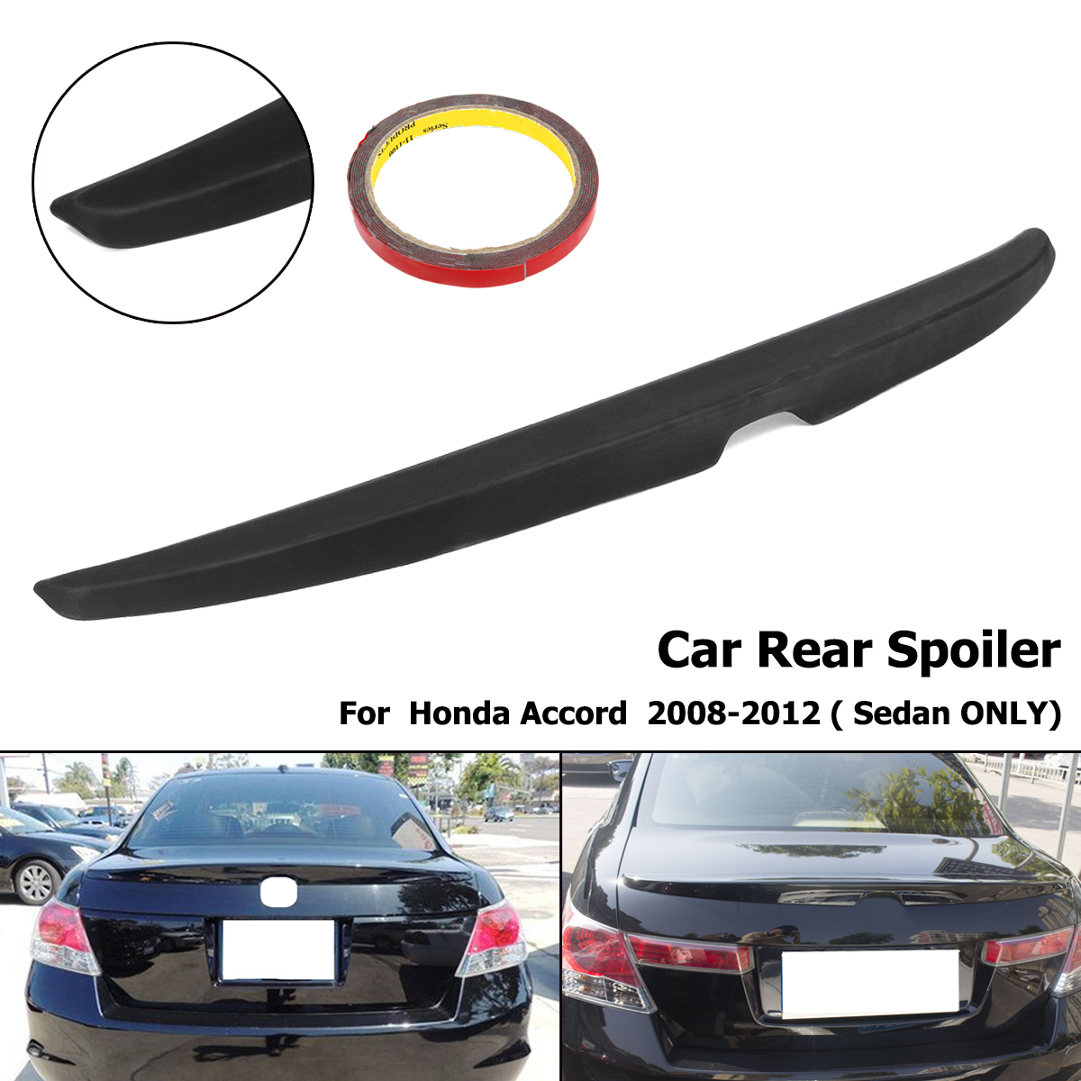 купить Matte Black Unpainted Rear Trunk Lip Wing Spoiler For Honda for Accord 4DR Sedan 2008 2009 2010 2011 2012 ABS Plastic онлайн