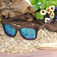 BOBO oiseau lunettes de soleil en bois femmes hommes lentille polarisée Nature noir bois cadre lunettes boîte cadeau lunette de soleil femme BG006d