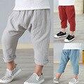 2-7 años de lino plisado los pantalones de los niños 2016 muchachas del verano muchachos pantalones de los niños del tobillo de longitud pantalones harem pantalones baby boy girl ropa