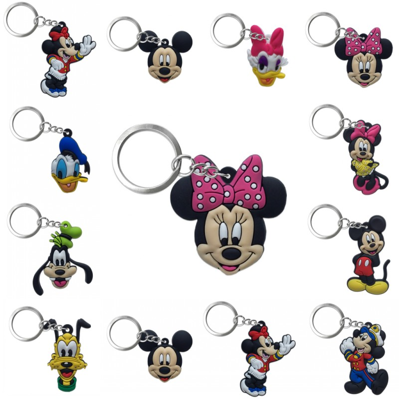1PCS PVC Key Chain Cartoon Figure Mickey Mini Anime Minnie Key Ring Keychain Kids Toy Pendant Key Holder Fashion Christmas Gift