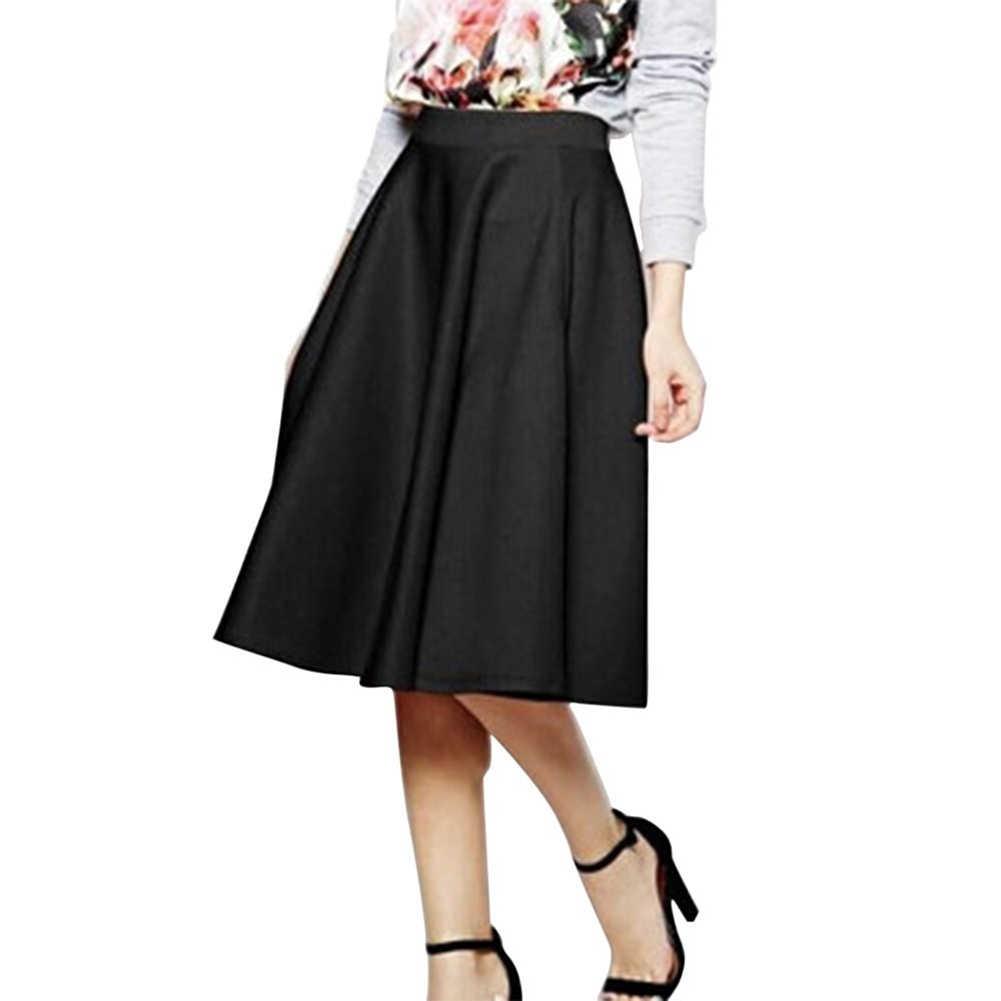 Faldas mujer 2017 primavera verano más falda de tamaño casual Falda plisada Faldas  moda femenina R2 843e42f2914c