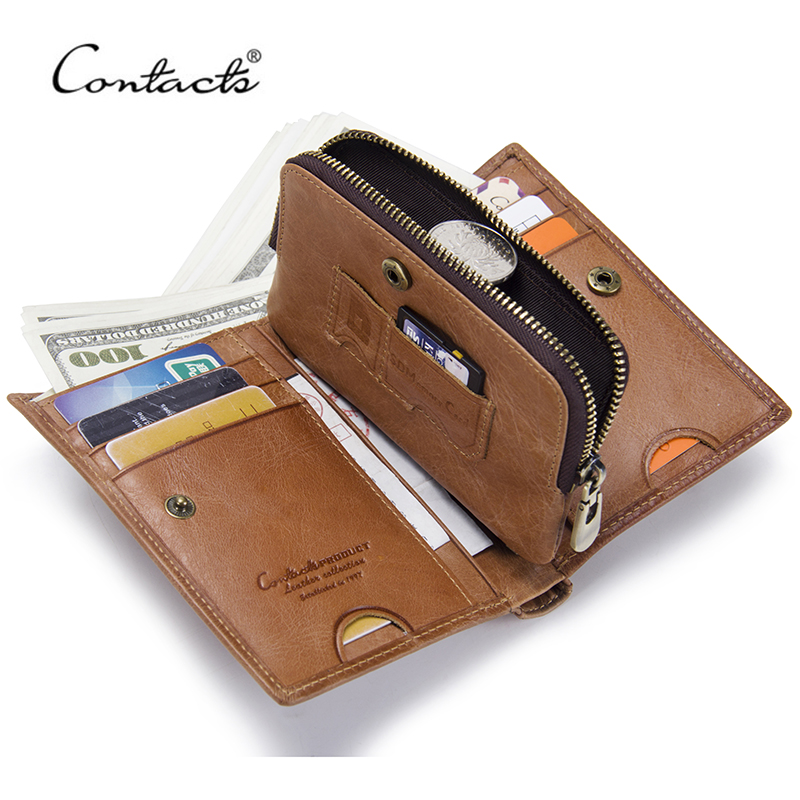 CONTACT'S Genuine Leather Men Wallet Short Coin Purse For Male New Small Vintage Wallets Brand Design High Quality Card Holder mens wallet genuine leather vintage small wallets brand design high quality unisex oil wax cowhide coin purse credit card holder