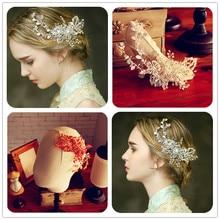 Dower me Stunning Silver Flower Rhinestone Wedding Hair Accessories Bridal Comb Headpiece Handmade Jewelry