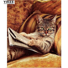 H261 Glasses Cat Lying On The Sofa Reading book,diy diamond embroidery,5d,cat,diamond painting cat