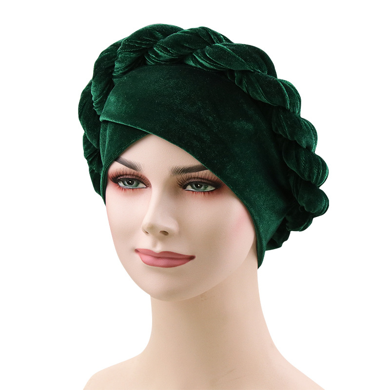 Image 2 - Muslim Women Hemp Flower Braid Cross Velvet Turban Hat Scarf 