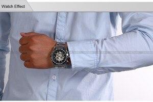 Image 5 - الفائز ساعات أوتوماتيكية وصفت الرجال الكلاسيكية الفولاذ المقاوم للصدأ الذاتي الرياح الهيكل العظمي الميكانيكية ساعة الموضة عبر ساعة اليد