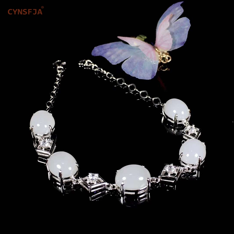 CYNSFJA Real Certified Natural Chinese Hetian White Jade Inlaid 925 Sterling Silver Handmade Womens  Bangle Bracelet High Quality Fine Jewelry Best Gifts