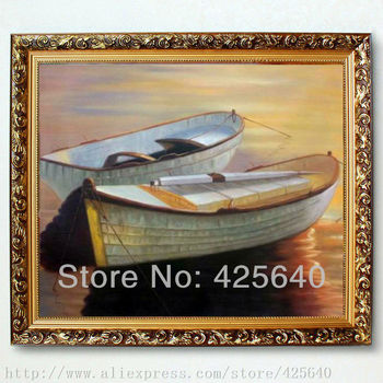 Two white Boats in the Seaside Seascape Oil painting on canvas hight Quality  Painting Brown Hand-painted Home Decoration