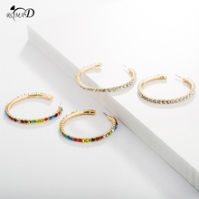 Women Hoop Earrings With Rhinestone Circle Simple Big Gold Color Loop Ear rings For A30