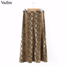Vadim women elegant snake print midi skirt faldas mujer side zipper design female casual streetwear chic