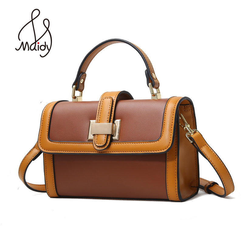Maidy Fashion Women Ladies Genuine Cow Leather Flap Messenger Bags Tote Shoulder Hasp Lock Wallet Designer Handbags High Quality chispaulo women genuine leather handbags cowhide patent famous brands designer handbags high quality tote bag bolsa tassel c165
