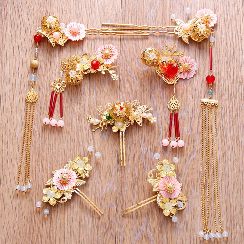 Jewelry-Set Earring-Tiara Hair-Accessories Crown Gold Chinese-Style Bridal Headdress