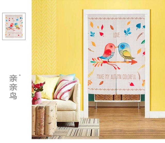 Children room divider kitchen door curtain cartoon love bird window