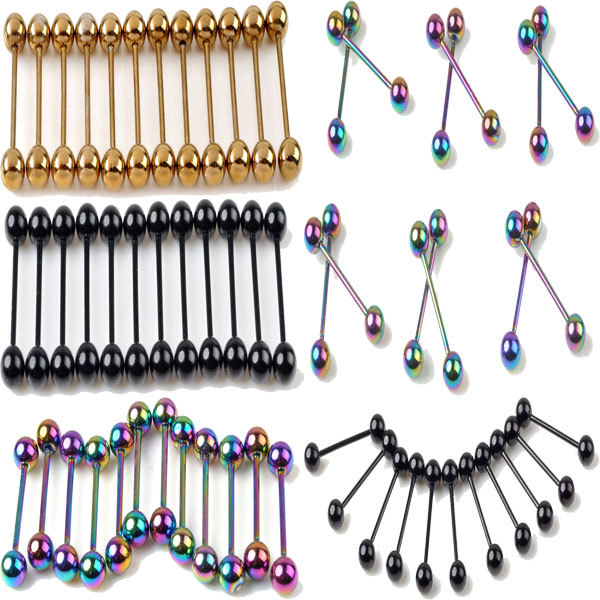 Wholesale 20Pcs/lot 316L Stainless Steel Barbell Tongue Rings Piercing Ear Stud Body Jewelry Piercing For Tongue Gold Black
