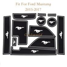 Antideslizante Puerta Estera Ranura Para 2015 2016 2017 Ford Mustang Pad Ranura Puerta antideslizante Taza Esteras Del Coche accesorios 12 unids/set