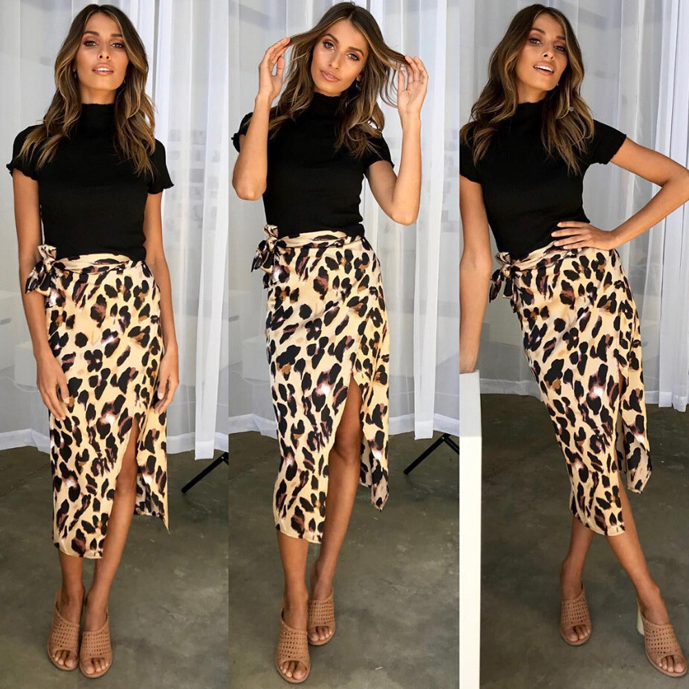 Fashion Women Sexy England Leopard Printed Split Bandage Evening Party Skirt S-XL