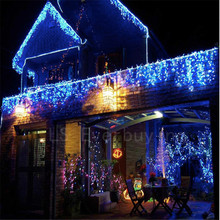 New Year 3.5M Droop 96 LED Curtain Icicle String Lights 8 Modes Post Christmas New Year Wedding Party Bedroom EU PLUG 110v 220v