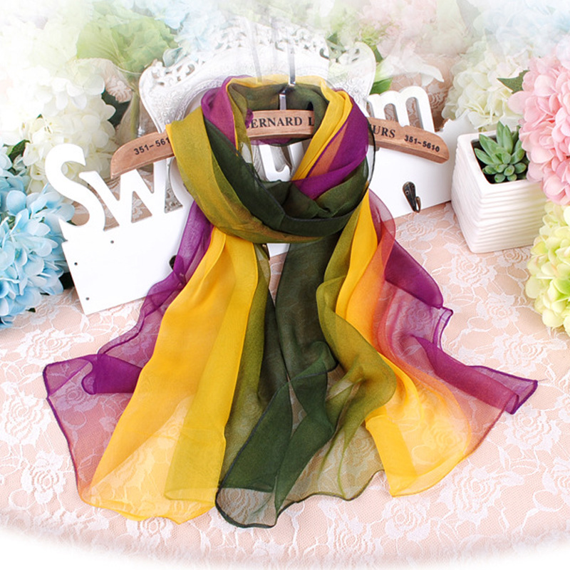 New Arrival Silk Gradient Color Beach Scarf For Women Muslim Hijab Bandana Chiffon Georgette Long Shawl Summer Sunscreen