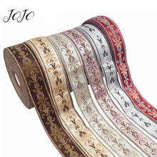 JOJO BOWS 25mm 5y Embroidery Ribbon For Crafts Flower Pattern Tape Needlework Apparel Sewing Materials Home Party Decoration
