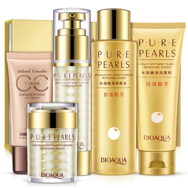 Bioaqua Pure Pearls Facial Skin Care Set Hyaluronic Acid Deep Moisturizing Anti Wrinkle Face care Pearl Whitening Cream