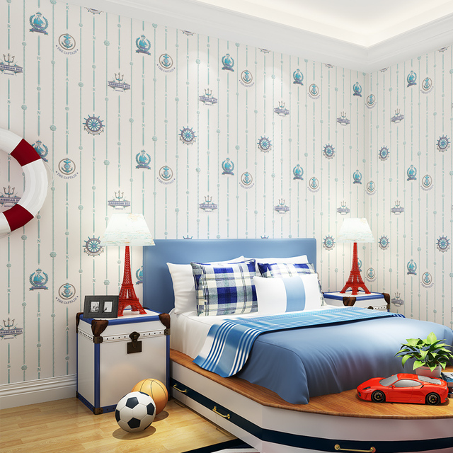 . US  29 99  Kids Room Bedroom Wallpaper Boy Mediterranean Style Blue  Vertical Stripes Wallpaper Non woven Cartoon Children s Room Wallpaper in
