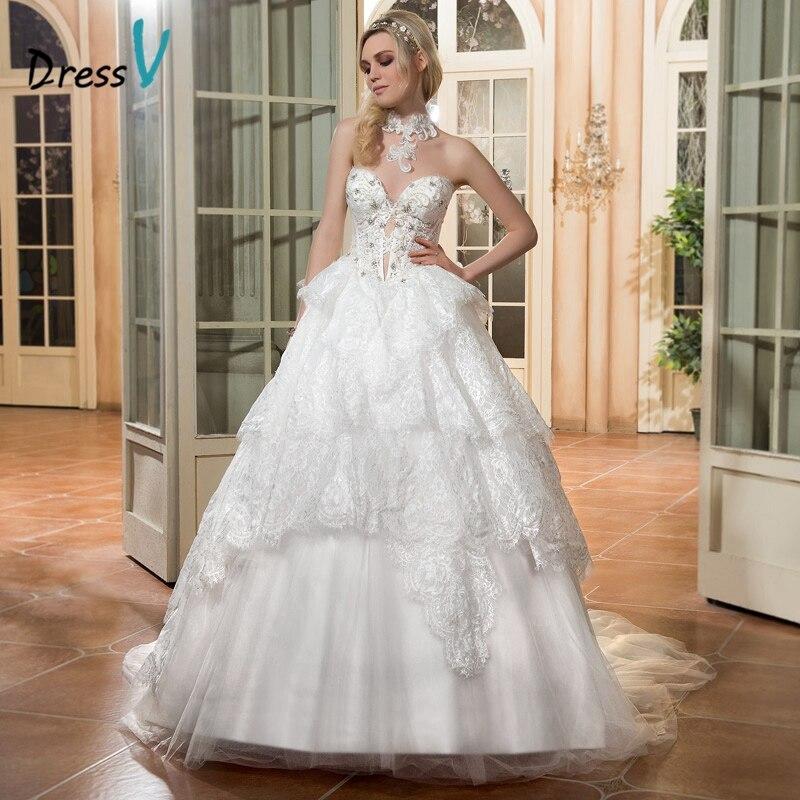 Dressv vintage ivory ball gown abito da sposa sweetheart perline tiered abito da sposa in pizzo senza maniche lace up abito da sposa elegante